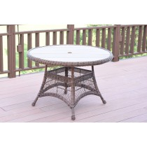 "Honey Wicker 44"" Round Dining Table with Faux Wood"