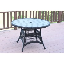 "Black Wicker 44"" Round Dining Table with Faux Wood"