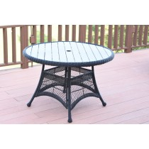 "Espresso Wicker 44"" Round Dining Table with Faux Wood"