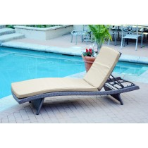 Wicker Adjustable Chaise Lounger with Tan Cushion - Set of 4