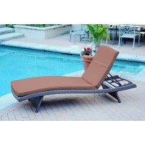 Wicker Adjustable Chaise Lounger with Brown Cushion
