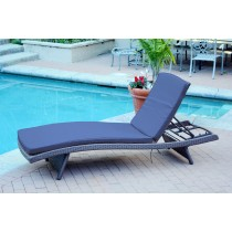 Wicker Adjustable Chaise Lounger with Midnight Blue Cushion