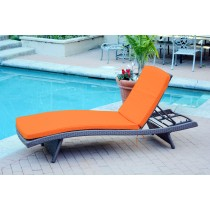 Wicker Adjustable Chaise Lounger with Orange Cushion - Set of 4