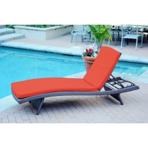 Wicker Adjustable Chaise Lounger with Brick Red Cushion - Set of 4