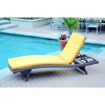 Wicker Adjustable Chaise Lounger with Mustard Cushion