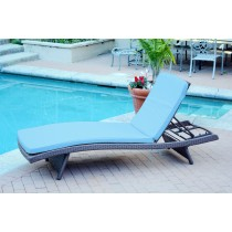 Wicker Adjustable Chaise Lounger with Sky Blue Cushion