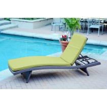 Wicker Adjustable Chaise Lounger Sage Green Cushion - Set of 4