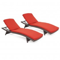 Wicker Adjustable Chaise Lounger with Brick Red Cushion - Set of 2