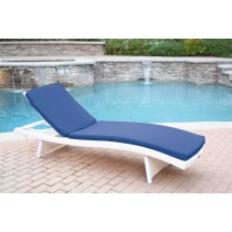 White Wicker Adjustable Chaise Lounger with Cushion
