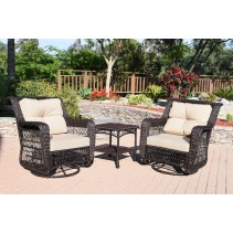 3pc Swivel Glider Resin Wicker Set