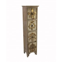 Wooden Cabinet with Fleur-de-lis Design