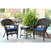 Espresso Wicker Chair And End Table Set With Chair Cushion