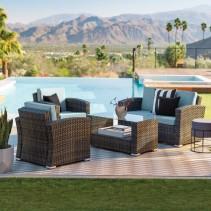 Nefeli Resin Wicker 4 Piece Patio Conversation Set with 3 Inch Cushions