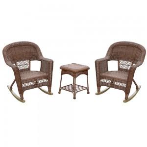 3pc Rocker Wicker Chair Set Without Cushion