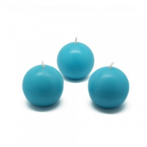 "2"" Turquoise Ball Candles (12pc/Box)"