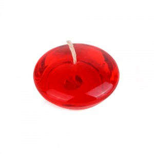 """3"""" Clear Red Gel Floating Candles (6pc/Box)"""