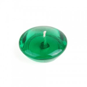 3 Inch Clear Hunter Green Gel Floating Candles (6pc/Box)