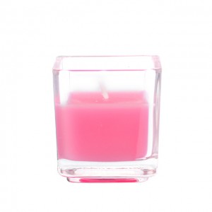 Hot Pink Square Glass Votive Candles (12pc/Box)