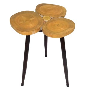 Triple Ring Wooden Accent Table