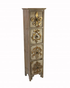 Wooden Cabinet with Fleur-de-lis Design