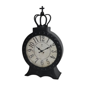 "8"" Black Metal Table Clock"