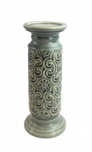 """12"""" Scroll Candle Holder-Blue"""