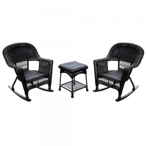 3pc Espresso Rocker Wicker Chair Set Without Cushion