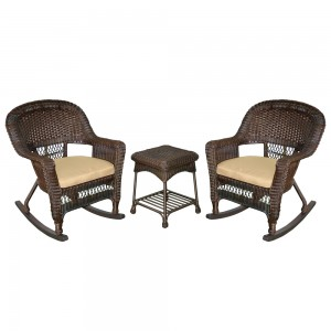 3pc Espresso Rocker Wicker Chair Set With Tan Cushion