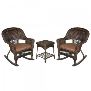 3pc Espresso Rocker Wicker Chair Set With Brown Cushion