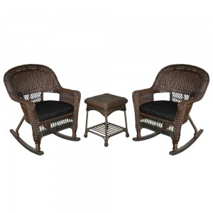 3pc Espresso Rocker Wicker Chair Set With Black Cushion