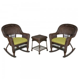 3pc Espresso Rocker Wicker Chair Set With Sage Green Cushion