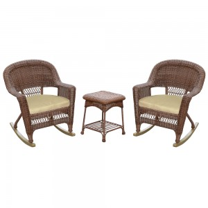 3pc Honey Rocker Wicker Chair Set With Tan Cushion