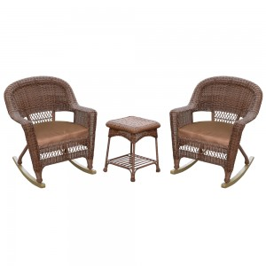 3pc Honey Rocker Wicker Chair Set With Brown Cushion