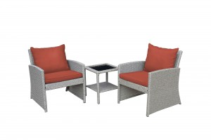 Mirabelle 3 Pieces Bistro Set with 2 Inch Brick Red Cushion