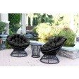 Papasan Espresso Wicker Swivel Chair and Table Set with Cushions