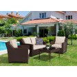 Caoimhe 4 PC Espresso Resin Wicker  Conversation Set with 4 In Cushion