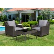 Aoife 4 PC Grey Resin Wicker  Conversation Set with 4 In Cushion